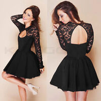 """Sexy Womens Long Sleeve Lace Backless Evening Party Bodycon Mini Skater Dress U"""""""