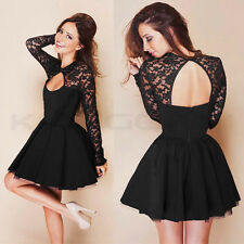 UK Sexy Womens Long Sleeve Lace Backless Evening Party Bodycon Mini Skater Dress