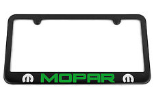 MOPAR Satin Black License Plate Frame Envy Sublime Green Go Silver Engraved Logo