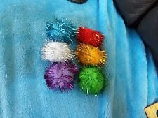 SET OF 6 TINSEL GLITTER POMPOM CAT OR KITTEN BALLS TOYS IRRISISTABLE GIFT PUSS
