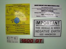 RS 1600 & Mexico Under Bonnet Decal Set Mk1 & Mk2 Escort AVO Negative Earth