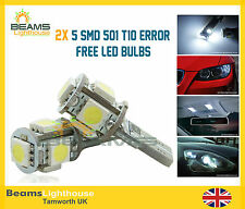 2x 5SMD LED 501 T10 NO ERROR Xenon White Light Bulb BMW E30 E36 E46 E90 E92 E91