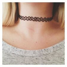 4x Tattoo Choker Stretch Necklace Black Retro Vintage Elastic