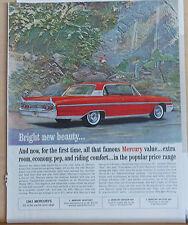 Vintage 1961 magazine ad for Mercury - red Monterey, extra room,economy, pep