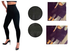 Women's HIGH WAISTED FOOTLESS Fleece Lined Black LEGGINGS Tummy #TX701 One Size