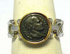 STERLING SILVER 14K GOLD COIN RING NAPOLEON SIZE 8.75   5.3 GRAMS