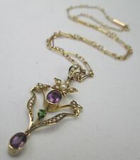 Edwardian 9ct Gold Suffragette Seed Pearl Peridot & Amethyst Pendant Necklace