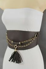 Women Belt Elastic Dark Brown Wide Corset Hip High Waist Gold Chains Fringe S M