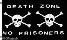 Pirate Jolly Roger Skull and Crossbone Death Zone No Prisoners 5'x3' Flag !