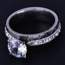 fashion 14k White Gold plated Womens Clear CZ Wedding Ring Size 6