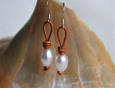Rice Pearls On Leather Dangling Earrings Silver Plated Handmade Yevga 1.5''