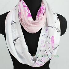 Womens Fashion Infinity Scarf Peony Print Chinese Style Elegant Lady Scarves New