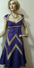 KAREN MILLEN EMBELLISHED DRESS SIZE UK 10 USA 6 PURPLE, YELLOW  96% COTTON 4% E