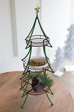 Green Folding Christmas Tree Tray Stand w/3 Red Baskets/Star Party Food Holiday