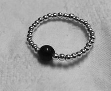 Sterling Silver 925 Women's New ball band popular stacker with onyx bead ring