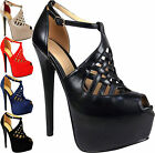 Ladies High Stiletto Heels Platform Womens Peep Toe Ankle Strappy Shoes Size 3-8