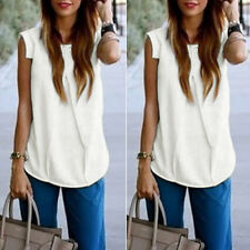 Women Loose Chiffon Summer Vest Sleeveless Shirt Blouse Casual Tops
