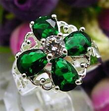 925 Sterling Silver Filled M33r Emerald Green Cocktail Engagement Ring Size 7