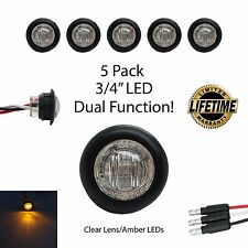 "3/4"" Round Clear Amber LED Dual Function Clearance Turn Marker LIFETIME WARRANTY"