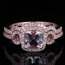 10K Rose Gold Cushion Morganite Diamonds Engagement Wedding Ring & Match Band