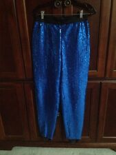 VINTAGE WOMENS ESCADA MARGARETHA LEY BLUE SEQUINED PANTS SIZE 38 EXCELLENT
