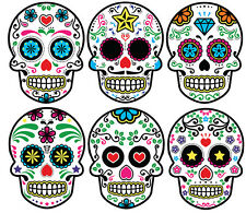 CANDY SKULLS STICKER DAY OF THE DEAD SKULL STICKERS SET OF 6