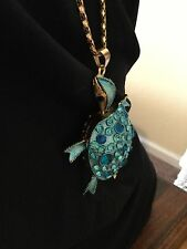 Colossal Betsey Johnson Turtle Pendant-Gold/Turquoise Blue