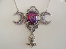 Art Nouveau Triple Moon Goddess Dragon Breath Glass Fire Opal Oxidized Finish