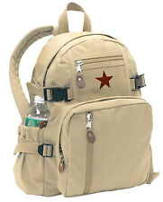 backpack khaki canvas mini size vintage look adjustable straps star rothco 9162