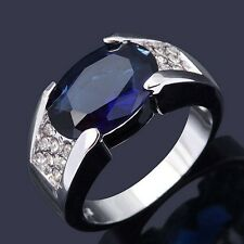 Jewellry Size8-11 Solitaire Blue Sapphire 18K Gold Filled Wedding Rings For Mens