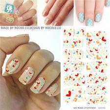 K5716B Water Transfer Foil Nails Art Sticker Colored Love Element Design
