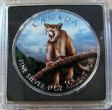 2012 $5 1oz .9999 Silver Maple Leaf SML Cougar Full Colour Canada
