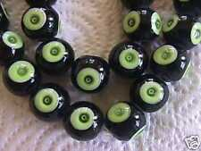 Black Green Evil Eye Mystic Lampwork Pendant Beads 14mm