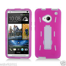 HTC One (M7) Hybrid S Armor Hard Case Skin Cover w/Stand Pink White A1