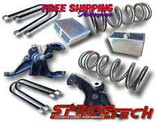 "ST 1982-2004 S10 Sonoma Blazer V6 3""-4"" Lowering Drop Spindles Coils Block Kit"