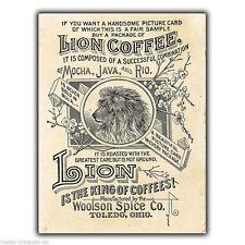 Letrero de metal placa de pared Lion Brand café de estilo Vintage y Retro Póster Anuncio de impresión de 1890