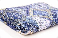 INDIAN KANTHA QUILT COTTON BLUE BEDSPREAD BLANKET THROW Decor Vintage Ethnic