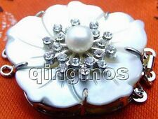 SALE Double Layer 35mm Shell Cameo Pearl 3 string White Crystal clasp-gp124