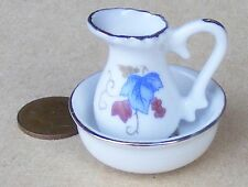 1:12 Scale Victorian Jug & Wash Bowl Dolls House Blue & Pink Floral Motif 2228
