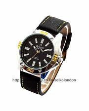 Omax Gents Black Dial, Black/Yellow Strap, Silver Finish, Seiko Movt RRP £79.99