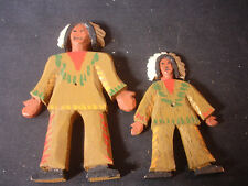 Old Vtg Wood Pair Of Native Indian Man & Boy with Head Dressing Dolls