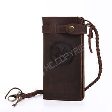 Retro Steampunk Style Geniune Leather Men's Long Wallet Biker Trucker Holder