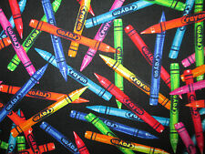CRAYONS REALISTIC CRAYOLA BLACK SCHOOL COTTON FABRIC BTHY