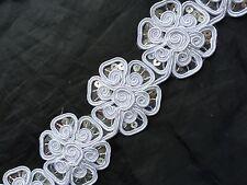 """2"""" Floral Braid/Gimp Appliqué Motif with Sequins Trim/Lace dress craft card- 1m"""
