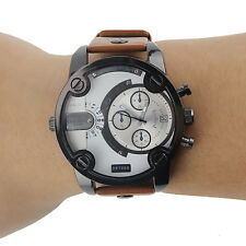 Large Oversized Mutiple Dials Date Display Rubber Strap Quartz Watch For Men