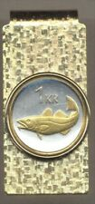 Iceland Cod fish Coin Hinged Money Clip 2-Toned Gold on Silver 160MC