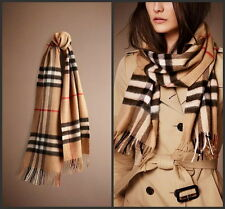 BURBERRY 100% CASHMERE AUTHENTIC SCARF CAMEL CHECK WITH TAG BRAND NEW BLACK