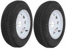 "2-Pack Trailer Wheel & Tire #414 530-12 5.30-12 5.30x12"" LRB 4 Hole White Spoke"