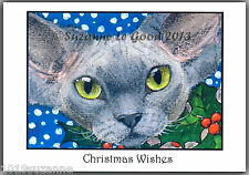 PACK OF 6  EXCLUSIVE DEVON REX CAT WITH HOLLY CHRISTMAS CARDS BY SUZANNE LE GOOD