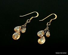 Echt 925er Silber &tropfen Kristalle Ohrstecker Ohrringe,Silver Crystal Earrings